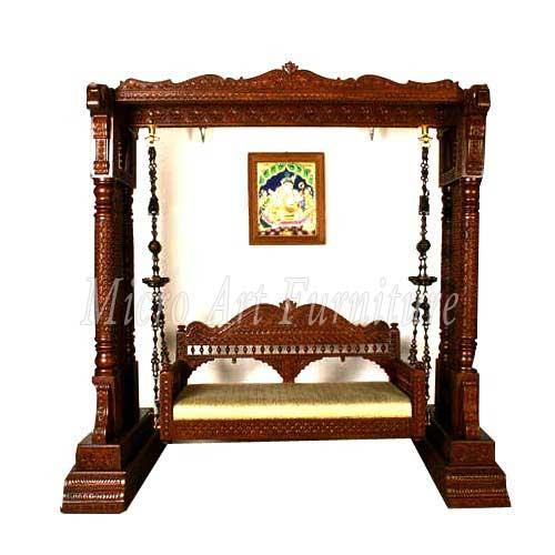 Hand carved teak wood swing